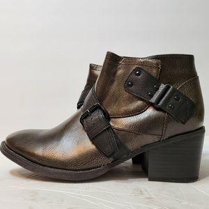 Crown VIntage Faux Leather Buckle Heel Booties, 8